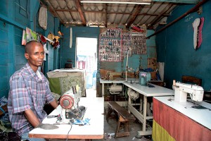 In Dakar there are many small  tailor shops