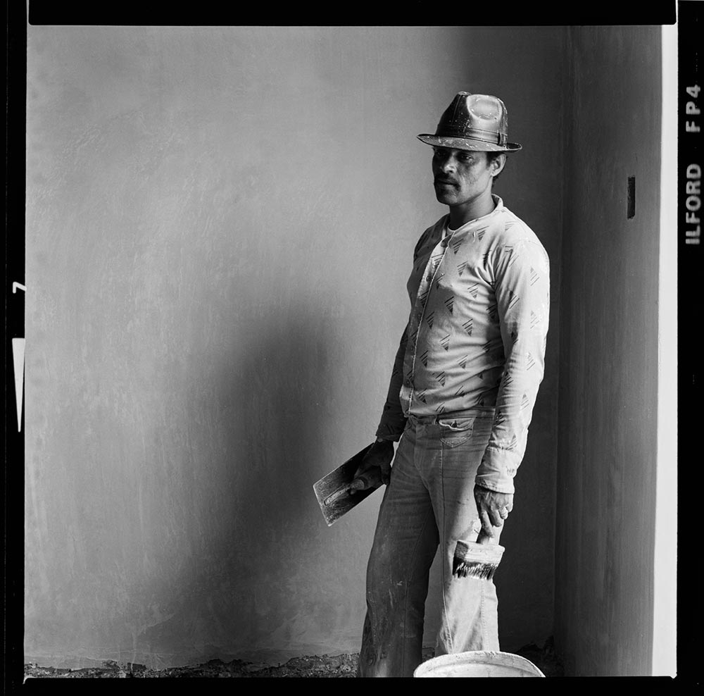 Photograph  ©Chris Ledochowski. Plasterer, name unknown, 1980