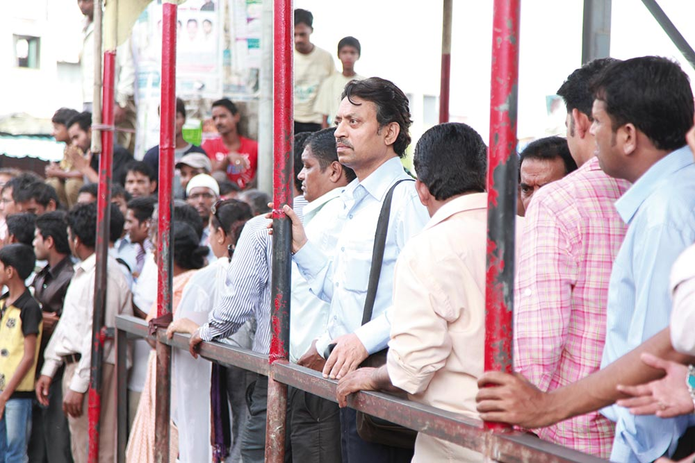 Irrfan Khan as Saajan in the crowd