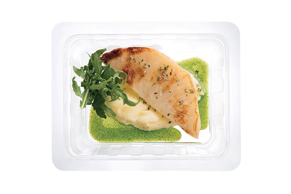 celeriac, lime puree and arugula sauce