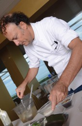 Moreno Cedroni working on the vegetarian dish