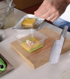 Plating the white sea lasagna